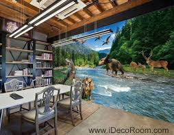Dinosaur Home Decor by 3d Jurassic World Dinosaur River Mountain Business Wallpaper Wall