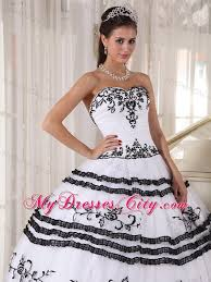 black and white quinceanera dresses white and black sweetheart tulle embroidery sweet 15 dresses