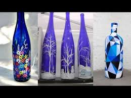 recycled bottle glass paint home decor ideas painted blue