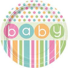 pastel polka dot baby shower unisex boy tableware