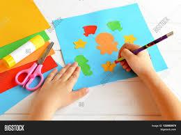 child keeps pencil hand draws image u0026 photo bigstock