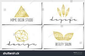 set four modern elegant business card stock vector 264671030