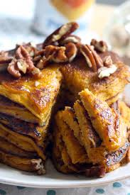 pumpkin pie pancakes made with whole wheat flour and no refined