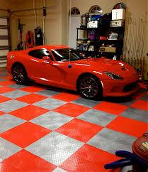 cool garage with racedeck garage flooring in redand alloy http