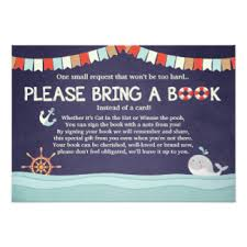 Baby Shower Book Instead Of Card Poem Nautical Baby Shower Invitations U0026 Announcements Zazzle