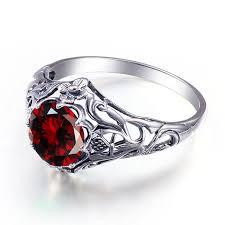 real crystal rings images Bride wedding rings vintage garnet crystal real 925 silver rings jpg