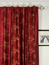 red bedroom curtains red embroidered animal dupioni silk curtains