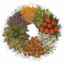 herb wreath culinary dried herb wreath country floral wall decor