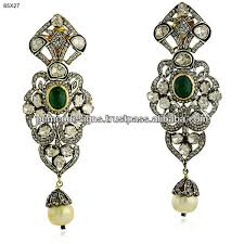 Chandelier Earrings Earrings Designer Diamond Emerald Gold Jhumka Earrigns Uncut Diamond
