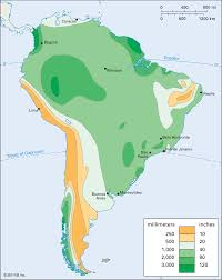 South America Physical Map by Precipitation Map Of South America Available As Poster Print Or As