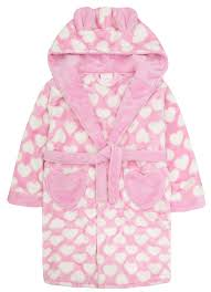 girls luxury 3d hooded dressing gown supersoft fleece heart print