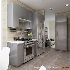 High Gloss Acrylic Kitchen Cabinets by Op16 A01 Modern Light Grey High Gloss Acrylic Kitchen Cabinet