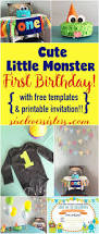 cute little monster first birthday with free templates and