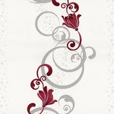 Wohnzimmer Design Rot Vliestapete Blumen Grafisch Rot Grau Tapete P S Pure Easy 13287 20