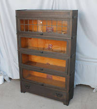 Oak Bookcases With Glass Doors Oak America Antique Bookcases 1900 1950 Ebay