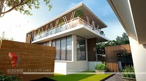 3d modern township exterior day rendering and elevation design by