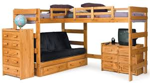 Wood Futon Bunk Bed Bedroom Impressive L Shaped Wooden Futon Bunk Bed With 2