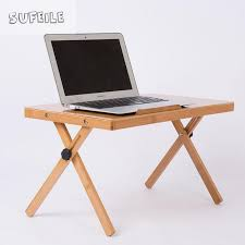 foldable table adjustable height sufeile portable folding laptop desk natural bamboo laptop table