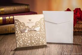 Wholesale Wedding Invitations Laser Cut Flower Wedding Invitation Cards Personalized Gold Hollow