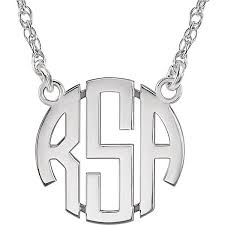 monogram necklace white gold small women s 14k white gold 3 letter block monogram necklace