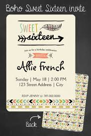 Sweet 16 Birthday Invitation Cards 24 Best Boho Sweet Sixteen Images On Pinterest Birthday Party