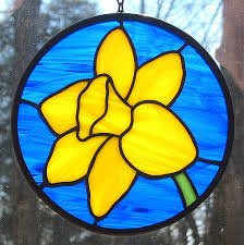 yellow daffodil stained glass suncatcher stained glass
