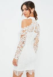 cold shoulder dress white lace cold shoulder bodycon dress missguided