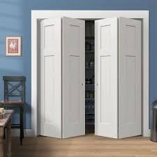 white finished bifold closet door with white trim also blue wall