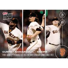 topps now card 521 cueto samardzija and moore become first