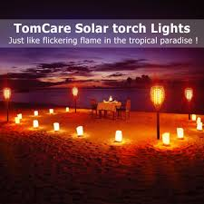 Red Solar Lights by Tomcare Solar Lights Waterproof Flickering Flames Torches Lights