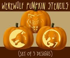 werewolf wolf digital halloween pumpkin stencils