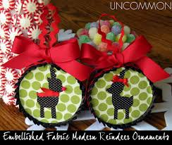 modern reindeer silhouette fabric ornaments featuring bonnie