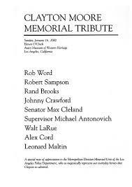 Memorial Booklet Clayton Moore Memorial Service