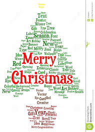 merry christmas word cloud in a shape of a christmas tree stock