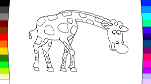 how to coloring giraffe learning coloring pages for kids youtube