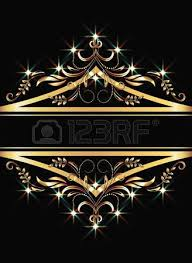 background with golden ornament and sparkling lights royalty free