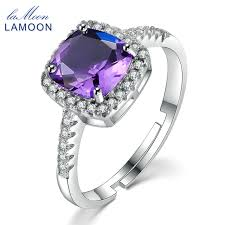 natural amethyst rings images Lamoon women fine jewelry rings 925 sterling silver 7mm 1 5ct jpg