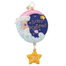 christopher radko 2017 baby ornaments sleepytime santa pink baby