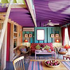 Coastal Colors Tropical Beach Purple And House - Bright colors living room
