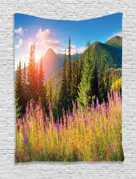 nature tapestry wall hanging spring flowers mountain home decor