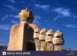 concrete chimneys of the art nouveau or modernista casa mila or