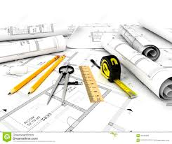 construction plans construction plan with scale and pencil stock illustration