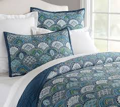 Green And Blue Duvet Covers Marcy Quilt U0026 Sham Pottery Barn