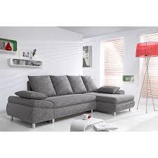 canap relaxima delamaison canapé d angle convertible tissu gris chiné nathael