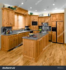 Hickory Cabinets Kitchen Modern Residential Kitchen Hickory Cabinets Stock Photo 60864787