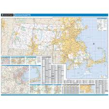 Lowell Massachusetts Map by Rand Mcnally Massachusetts State Wall Map