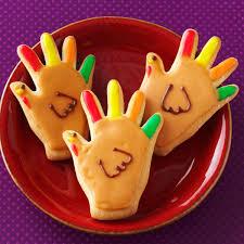 thanksgiving handprint turkey handprint turkey cookies recipe taste of home