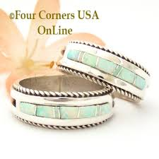 white fire rings images Navajo white fire opal inlay wedding band rings four corners usa jpg