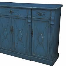 Rustic Furniture Store Everett 3 Drawer 4 Door Breakfront Royal Blue Wood Sideboard By
