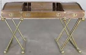 Campaign Desk Vintage Drexel Campaign Desk With Gilt X Base Legs And Low Roll